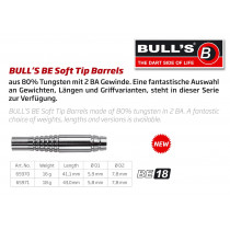 Bull's BE-18 Soft Tips Darts Barrels - 80% Tungsten